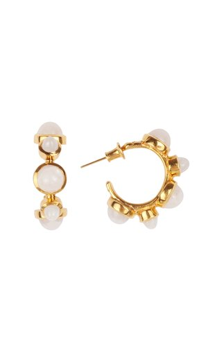 Celestial Aegean Islands 18K Yellow Gold Moonstone Earrings