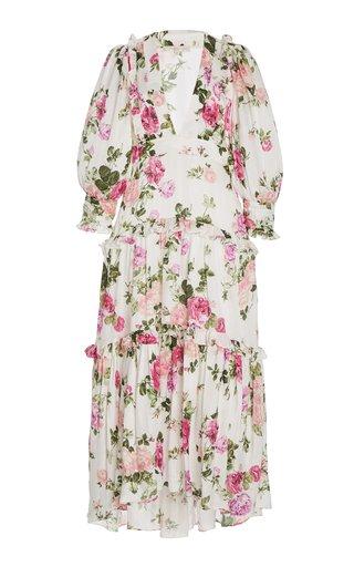 Lorencia Floral Silk-Cotton Midi Dress