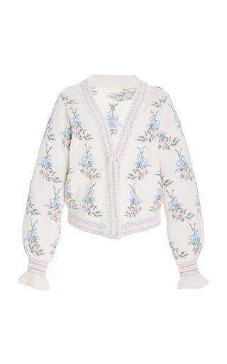Boscom Floral Jacquard Knit Cardigan