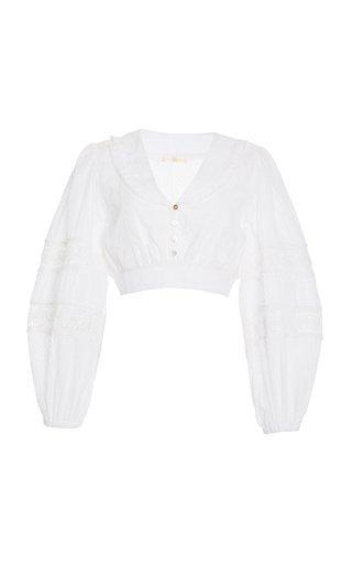 Salida Swiss-Dot Cotton Cropped Top