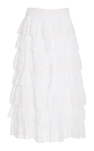 Borneo Tiered Cotton Midi Skirt