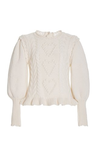 Calantha Embroidered Cable Knit Sweater