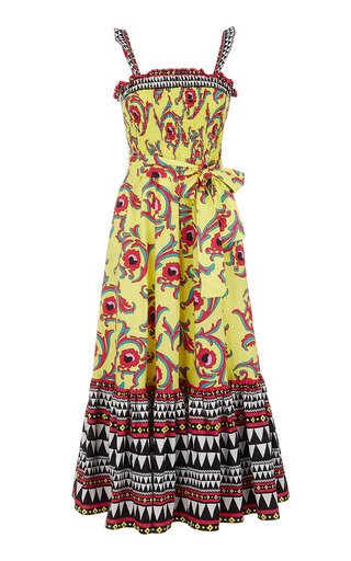Smocked Printed Cotton Maxi Dress