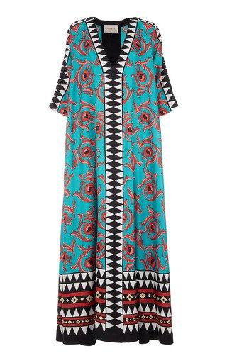 Muumuu Printed Silk Maxi Dress