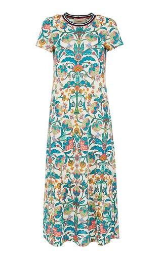 Sporty Swing Printed Cotton Midi Dress