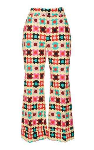 Hendrix Printed Cotton Flared Pants