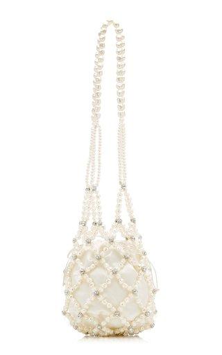 Egg Beaded-Pearl and Satin Shoulder Bag