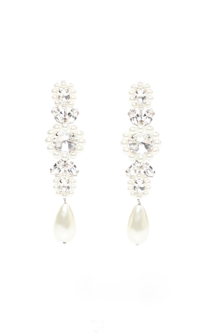 Jeweled Drop Cameo Crystal And Pearl Earrings