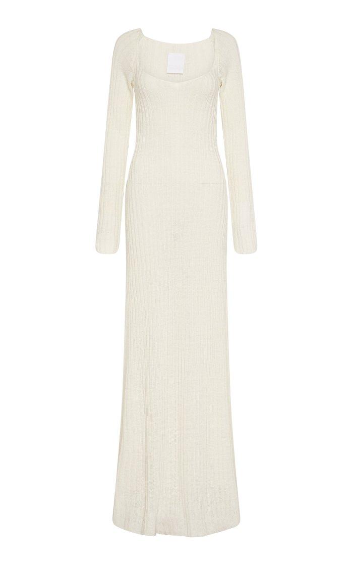 Linen Knit Long Sleeve Maxi Dress
