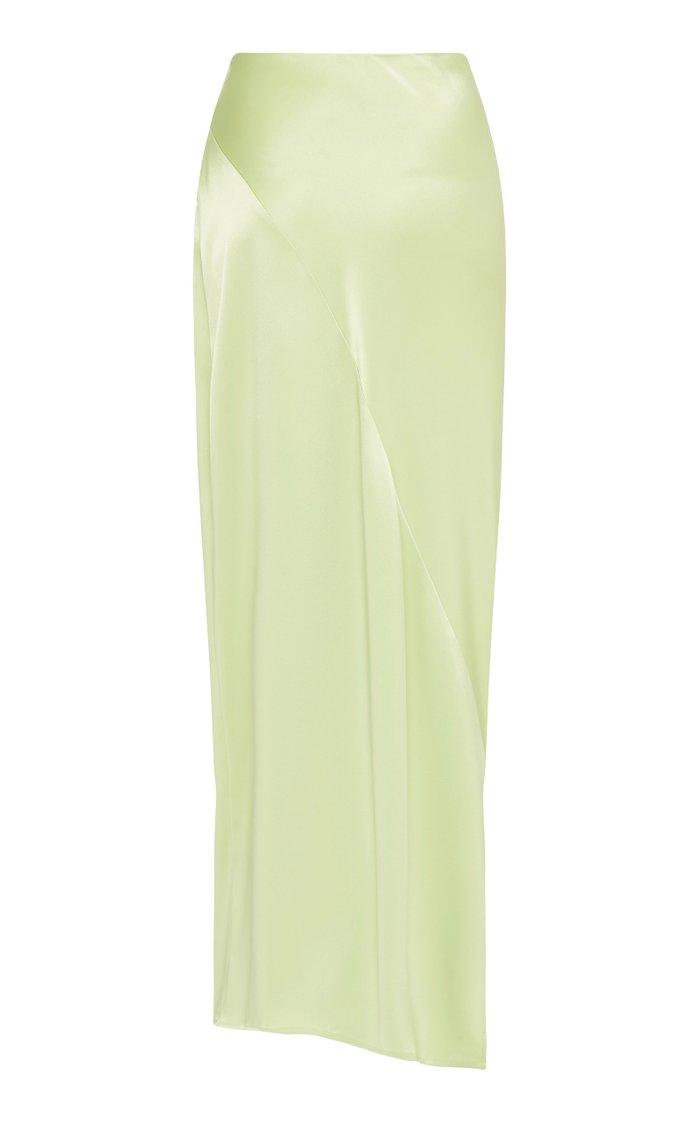 Sateen Side-Slit Maxi Skirt