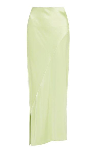 Side-Slit Satin Maxi Skirt