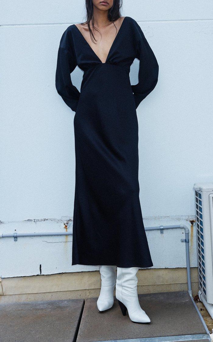 Jules Long Sleeve Plunging V-Neck Maxi Dress