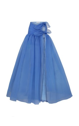 Organza Wrap Maxi Skirt With High Slit