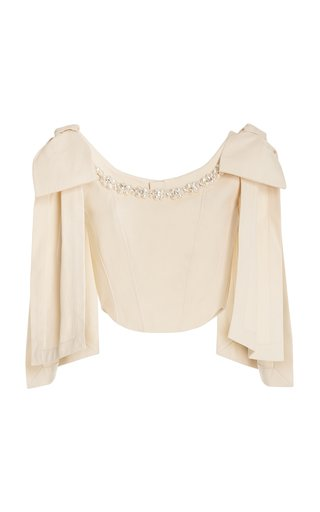 Pearl-Embellished Cotton Corset Top