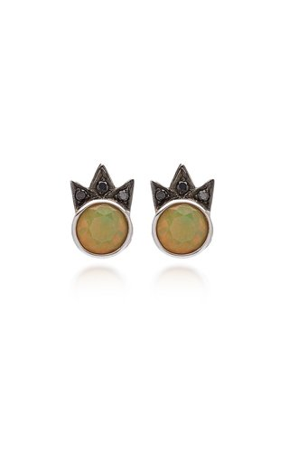 Starburst 18K White Gold Opal, Black Diamond Earrings