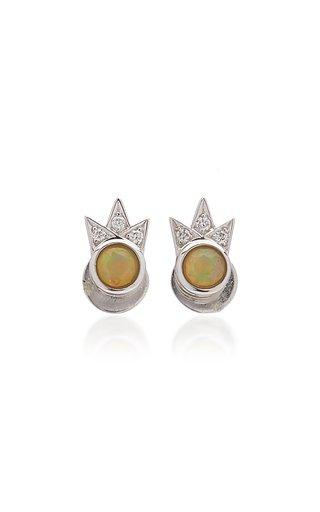 Starburst 18K White Gold Opal, Diamond Earrings
