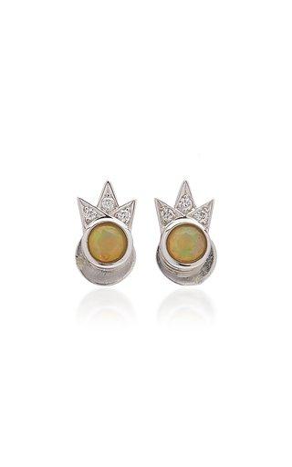 Starburst 18K White Gold Opal, Diamond Earrings