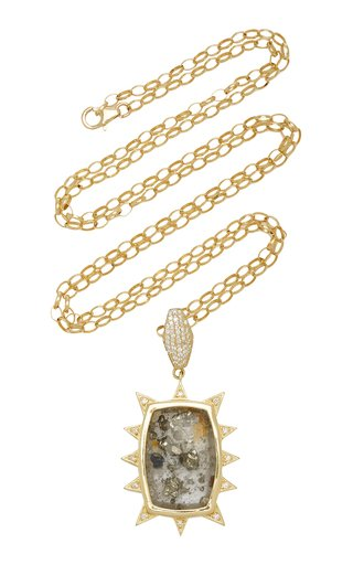Starburst 18K Yellow Gold Quartz Necklace