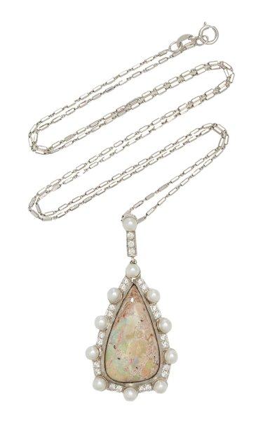 Lunar Orbit 18K White Gold Opal Necklace
