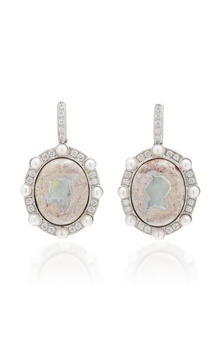Lunar Orbit 18K White Gold Opal Earrings