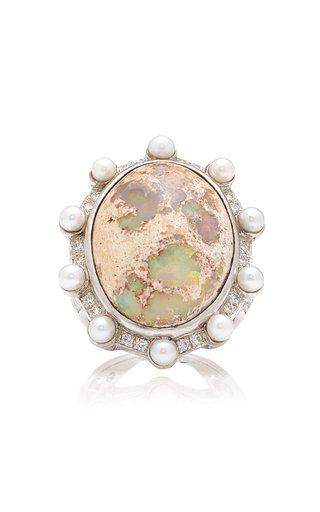 Lunar Orbit 18K White Gold Opal Ring