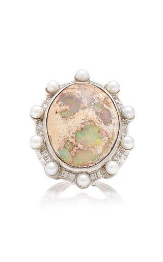 Lunar Orbit 18K White Gold Opal Ring