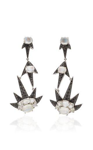 Triple Starburst 18K White Gold Moonstone, Diamond Earrings