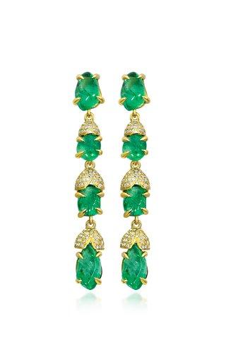 Glacial 18K Yellow Gold Emerald Earrings