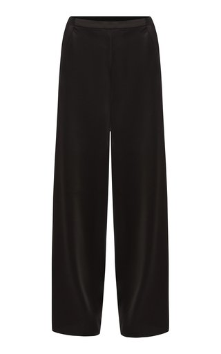 Matte Satin Straight-Leg Pants
