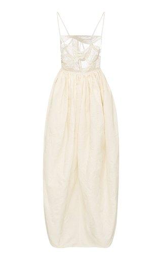 Crochet-Detailed Jacquard Maxi Cocoon Dress