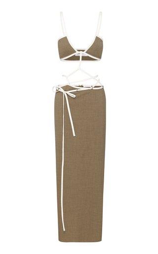 Tie-Detailed Wool-Crepe Midi Dress