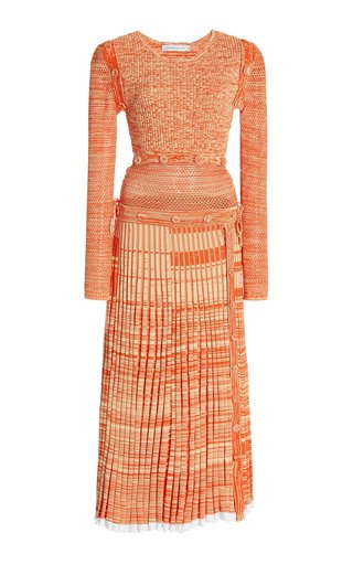 Convertible Mesh-Detailed Knit Maxi Dress