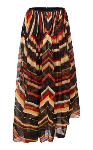 Spiral Wave Gathered Silk-Organza Maxi Skirt