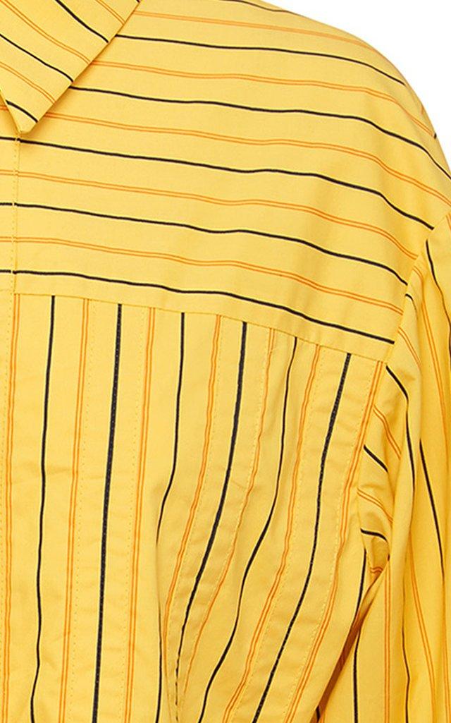 Basket Striped Tie-Accent Cotton Shirt