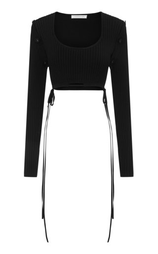 Convertible Drawstring-Detailed Ribbed-Knit Crop Top