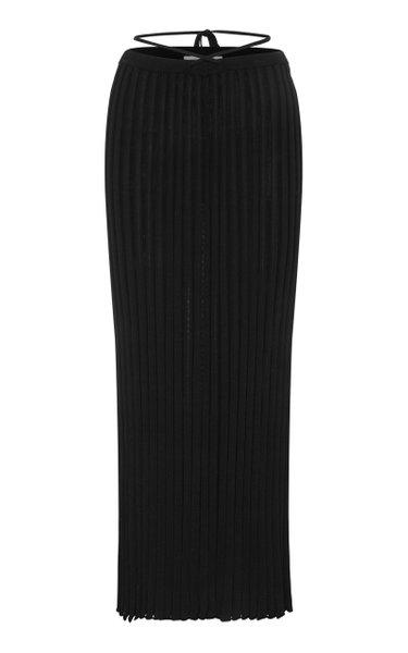 Drawstring-Detailed Ribbed-Knit Maxi Skirt