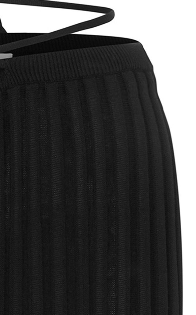 Drawstring-Detailed Ribbed-Knit Maxi Skirt