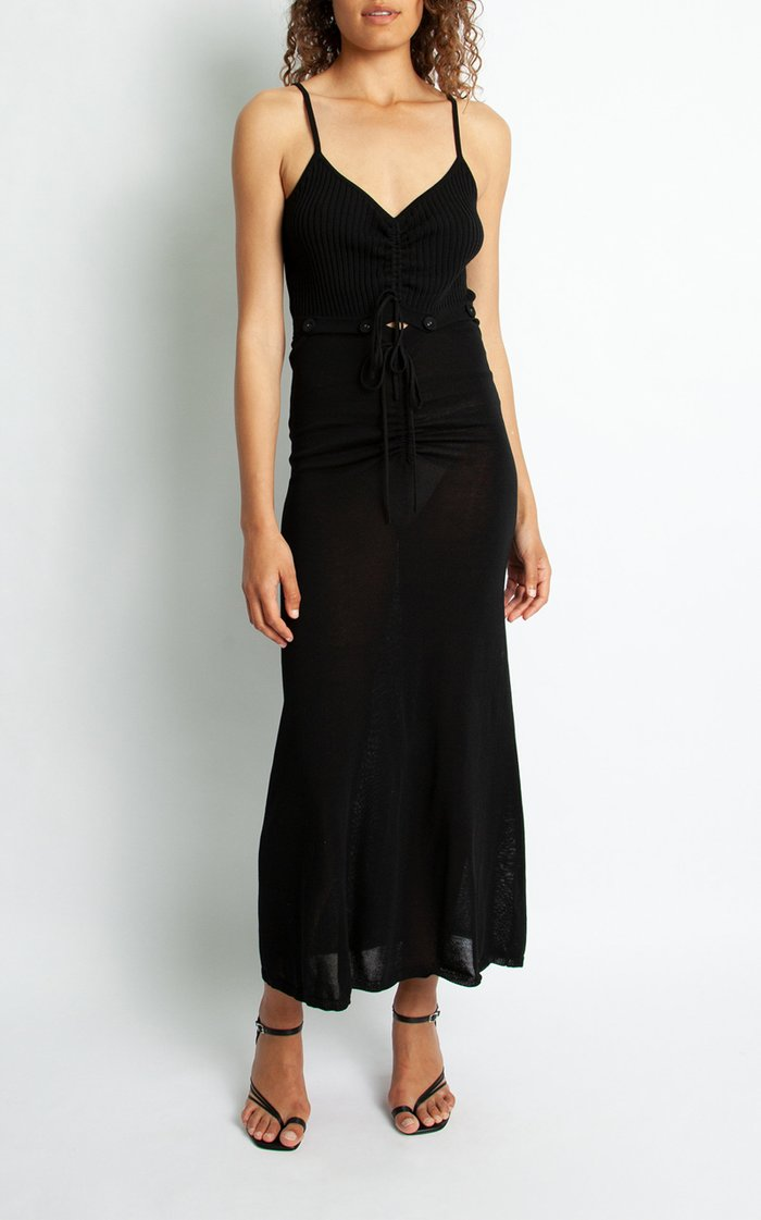 Convertible Ruched Knit Maxi Dress