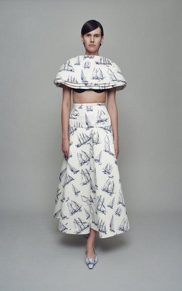 Amata Printed Cady Skirt