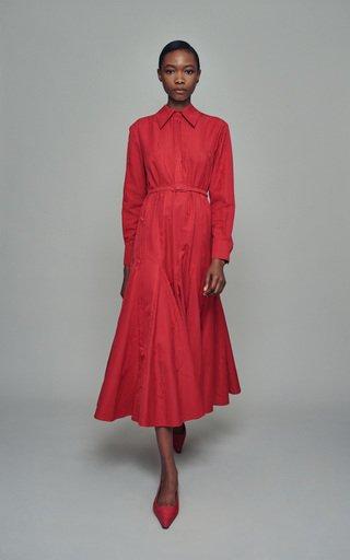Marion Belted Cotton-Moiré Dress