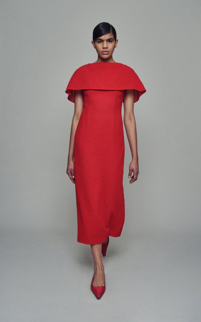 Blaine Cotton-Blend Caped Dress