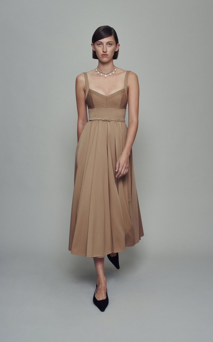 Elita Belted Crepe Midi Dress