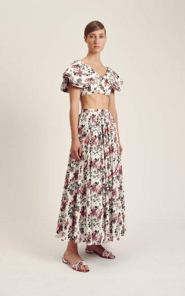 Dandy Floral Cotton-Blend Cropped Top