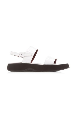 Nicky Croc-Effect Leather Sandals