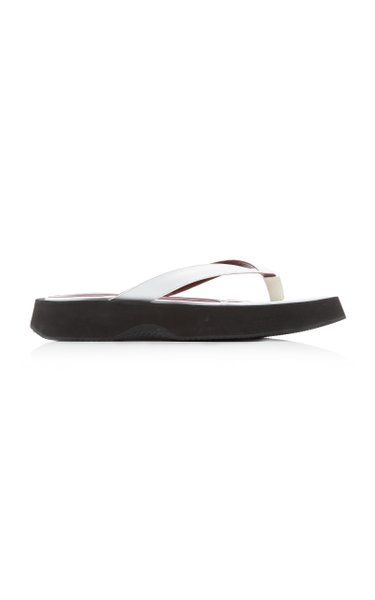 Tessa Croc-Effect Leather Thong Sandals