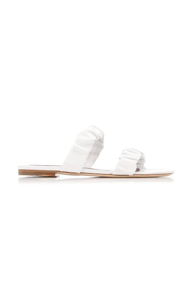 Maya Ruched Leather Flat Sandals