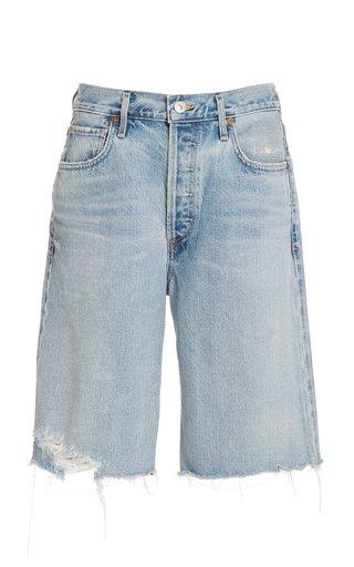 Ambrosio Distressed Rigid High-Rise Relaxed-Leg Shorts
