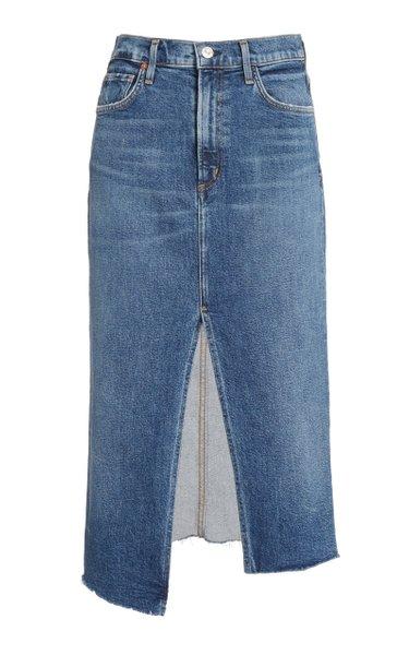 Aubrey Stretch Denim Knee-Length Skirt