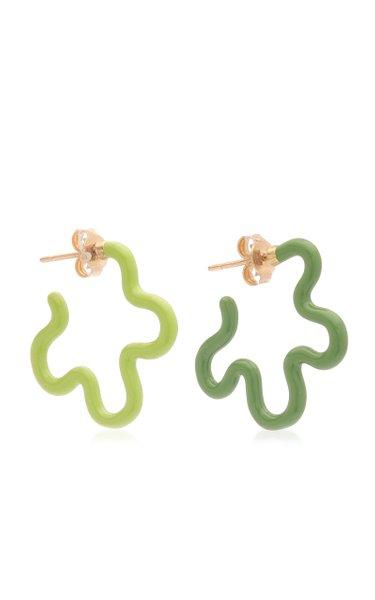 Two Tone Asymmetrical Flower Earrings