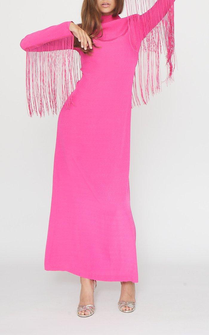 Reba Fringed Jersey Dress